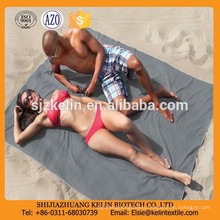 """76"""" x 64"""" XXL eucalyptus grey Microfiber Beach Towel with pockets"""