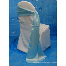 Atacado casamento luz azul cetim cadeira faixas