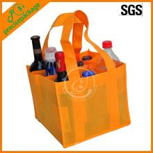 sac de bouteille de vin non tissé éco orange bon marché