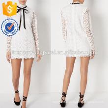 Nova Moda Branco Longo-Sleeved Lace Dress Fabricação Atacado Moda Feminina Vestuário (TA5281D)
