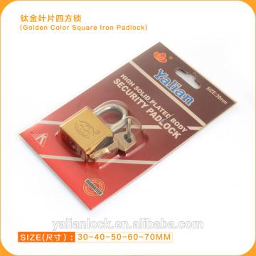 Alta segurança dourada cor vane chave quadrado ferro cadeado