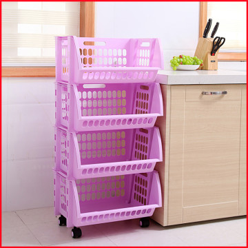 Household Storage 4 Tier Baskets with wheels
