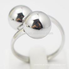 Kundenspezifische Frauen-Schmucksache-Metallsilber zwei Kugel-Finger-Ring