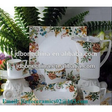 square shape fine bone china ceramics tableware