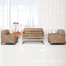 Metal Frame Genuine Leather Office Sofa Set Modern Office Sofa Chair (HY-S1003)