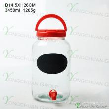 3000ml garrafa de vidro com torneira com Black Board