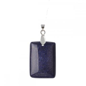 Natural Blue Goldstone Women Chakra Rectangle Gemstone Pendant Necklace