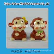Lovely cerâmica macaco salt pepper shaker