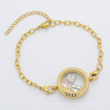 Adorável estilo mulheres bonitas de vidro de ouro flutuante charme cadeia medalhão pulseira