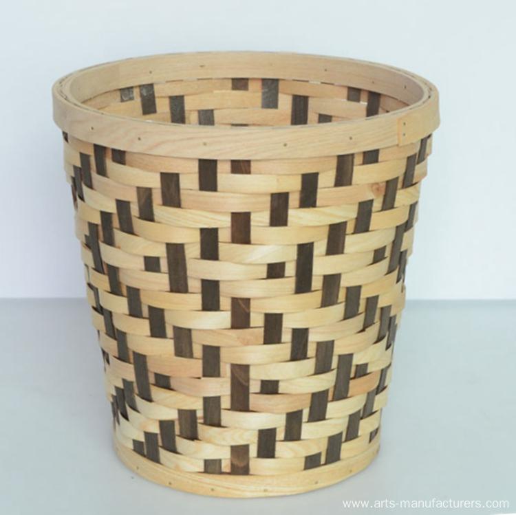 Round Wood Chip Flower Basket