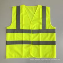Veste de sécurité moto antidérapante ANSI107 jaune avec ruban réfléchissant standard