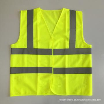 ANSI107 jaqueta amarela de malha de segurança de moto com fita reflexiva padrão