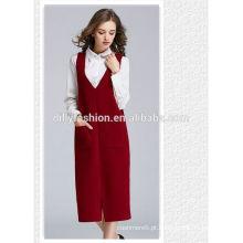 Novo design coreano retro estilo longo sem mangas popular bonito pureza malha camisola mulheres