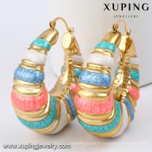 92291- Xuping Artificielle Africain chaud ventes femmes boucles d'oreilles avec coloré