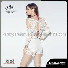 Crochet hohlen Rücken weißen Blumen Schulter ausgeschnitten Overall