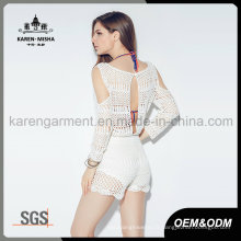 Crochet creuse dos blanc Floral épaule Cut Out Jumpsuit