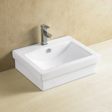 Lavabo de cerámica rectangular con encimera 8081