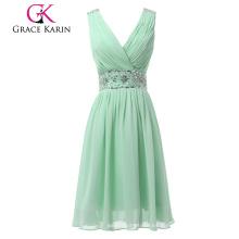 Grace Karin luz verde gasa con cuentas longitud de la rodilla v cuello V estilo trasero corto vestido de noche CL6104