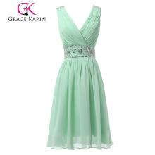 Grace Karin Light green Chiffon Beaded Knee length v neck V back style Short evening dress CL6104