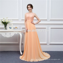 Long Chiffon Bridesmaid Dresses Peach High Quality Lace Backless Sexy Brides Maid Of Honor Vestidos De Real Photo D001