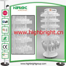 Supermercado acrílico Revovling Display Stand para enchufes
