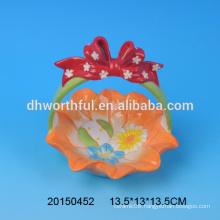 Portable ceramic Easter egg storage basket for promotion
