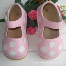 Rosa com pontos brancos Bebê Sapatos ásperos 7 cores