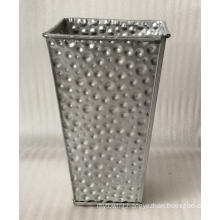 Silver carved metal stamping flower bucket