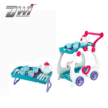 DWI Hot selling kids tea time trolley plastic tea set toy for wholesale