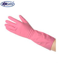 NMSAFETY long cuff household wash use luvas de borracha de látex rosa