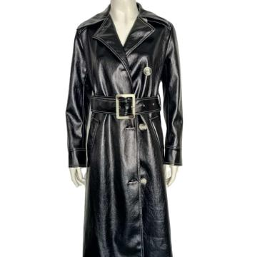 New Autumn Black Long Belt  PU Jacket