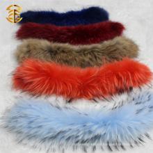 Desmontable Raccoon Fur Trim Collar para las señoras de la manera
