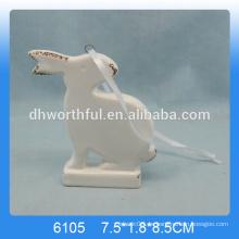 Lovely conejo de cerámica colgante ornamento, ornamento colgante de conejo