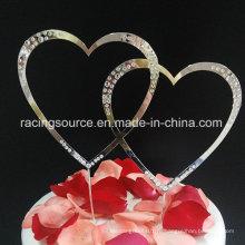 Горный хрусталь двойной сердца свадебный торт Топпер для украшения торта