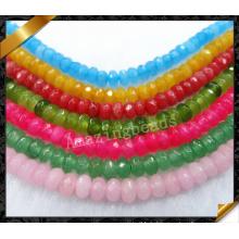 Vente en gros de perles de jade Rondelle à facettes naturelles, Vente en gros de perles de pierres précieuses multicolores (GB0128)