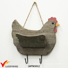 Placa de tres ganchos de forma de gallina de tres colores