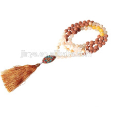 Handmade Knotted Wooden Mala Beaded Tassel Necklace Yoga Wear