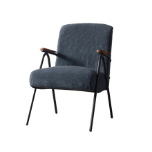 Modern style dark blue fabric corduroy armchair with black metal legs living room sofa chair