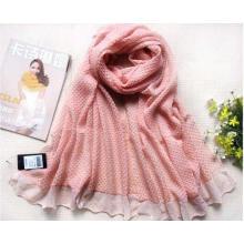 Große Größe Crumple Polyester Voile Pink Schal