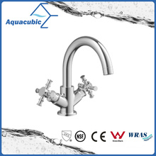 One Hole Solid Brass Body Double Handle Bathroom Faucet (AF7802-6)