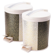 Plastic and Fashion Leather Covered Foot Pedal Rubbish Bin