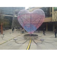 Modern Grand Arts en forme de coeur en acier inoxydable Sculpture légère pour décoration extérieure