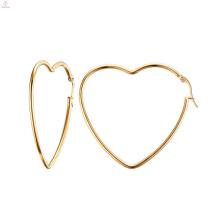 Pendientes grandes de aro de oro con forma de corazón para mujer