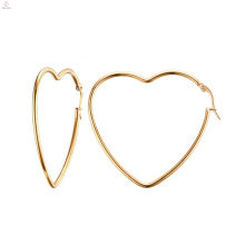 Mulheres grandes grandes brincos de argola de coração de moda ouro