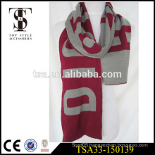 chunky yarn knitted warmful simple design acrylic football scarf football fan OEM service scarvess merry christmas gift