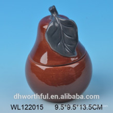 High quality ceramic food storage containers with pear design