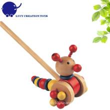 Lovely madeira empurrar Caterpillar Toy