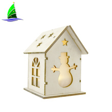 Christmas Tree Decoration Wooden House with Led Lights