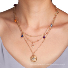 custom charm necklaces women cactus crystal gold plated pendant chain jewelry oem