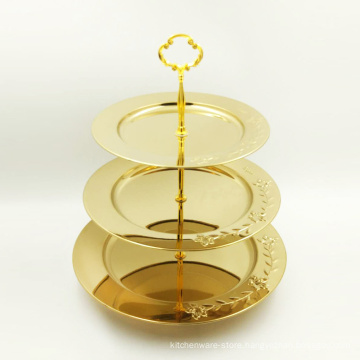 Stainless Steel 3 Tier Serving Dish Gold Color/Food Serving Tray